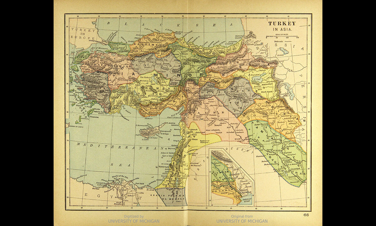 An 1894 map of the Ottoman Empire territories.