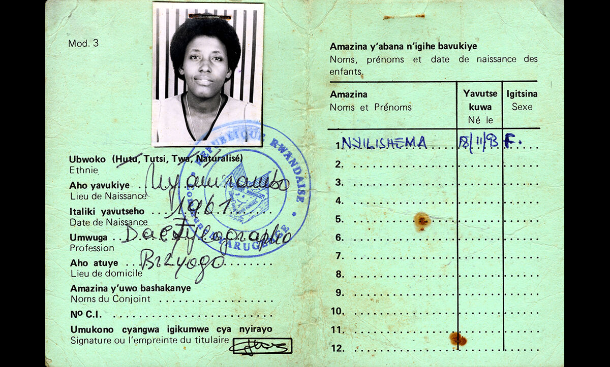 An identity card issued to a Tutsi woman prior to the Genocide on 18 November 1993.