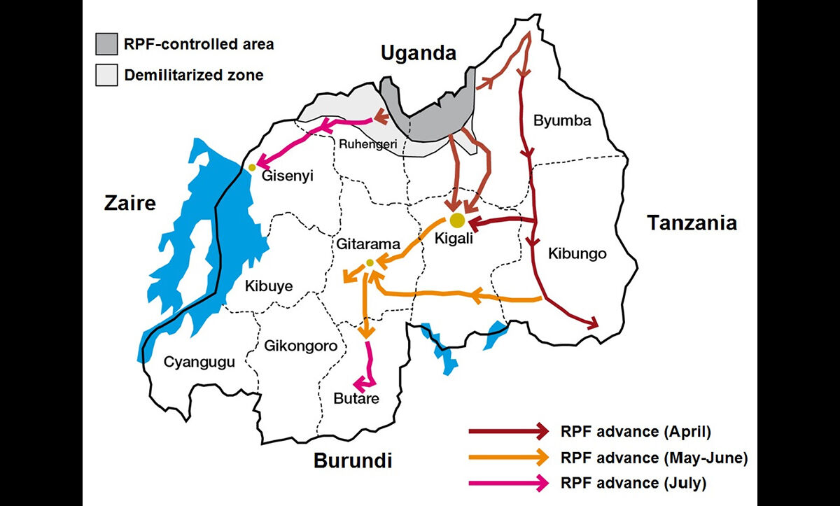 A map showing the advance of the RPF during the Rwandan Genocide of 1994.