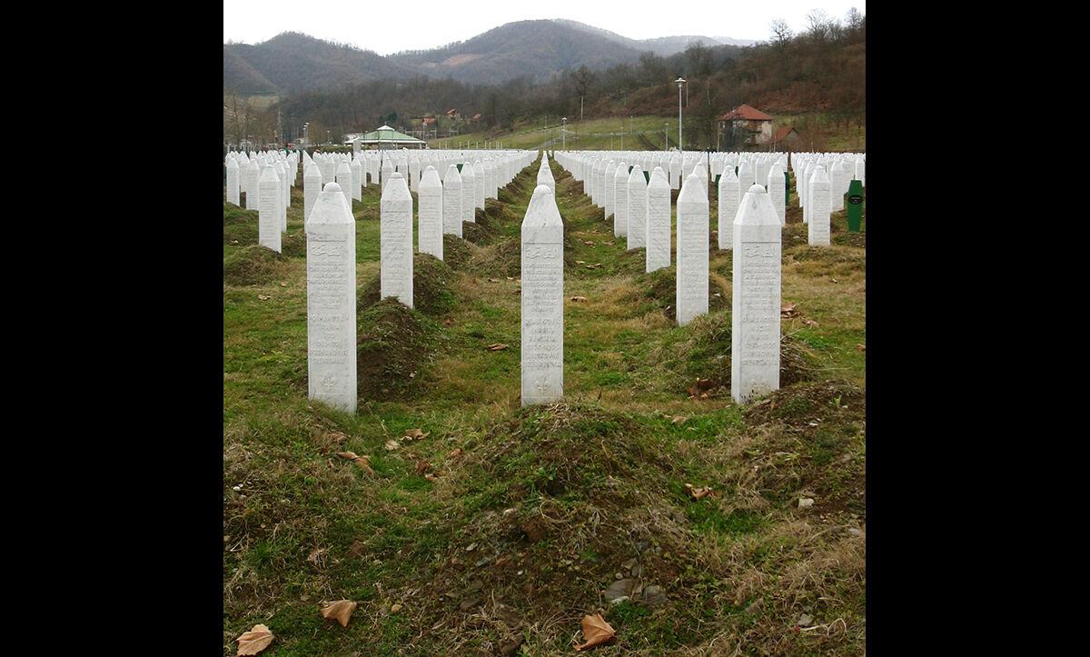 Gravestones of some of the murdered men and boys at the Potočari genocide memorial near Srebrenica.