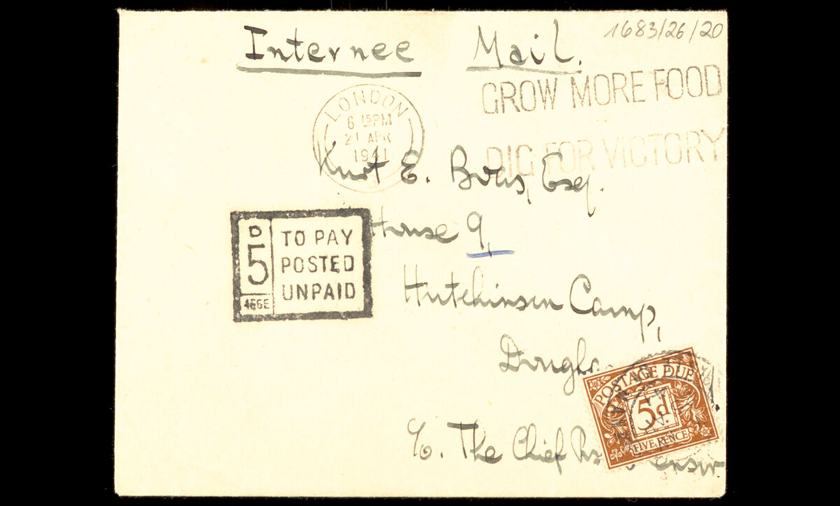 Any post sent or received by internees was censored and checked before they received it. This letter was sent to an internee in the Hutchinson Camp in Douglas, Isle of Man, on 21 April 1941.