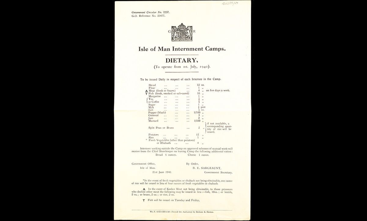 While held in the internment camps, prisoners' food was rationed, in line with the rest of the Britain during the war. This government circular details the daily rations of internees in the Isle of Man internment camps.