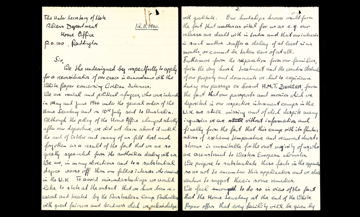 A collective letter written by internees in the Hay Internment Camp on 12 November 1941 to the Aliens Department of the Home Office in London appealing against their internment in Australia.
