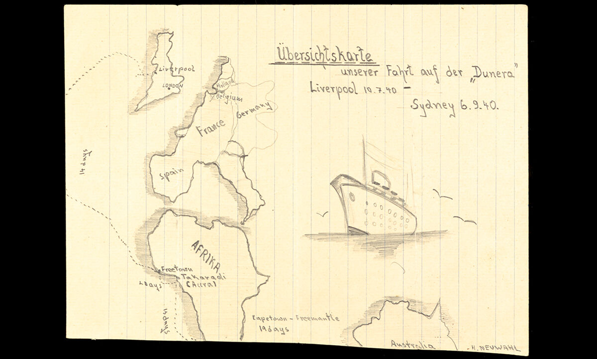 The letter was accompanied by this sketch, which details the internees' journey on board the infamous HMS Dunera.