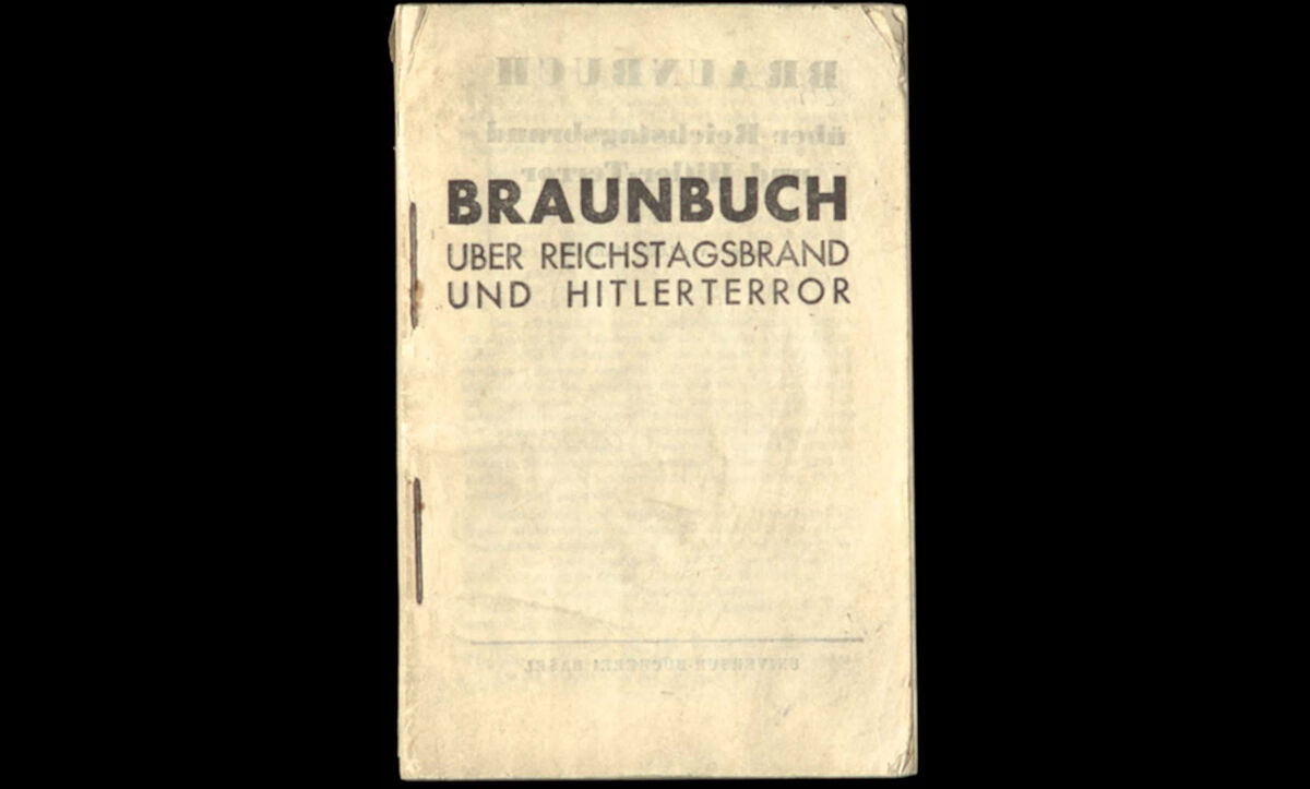 The Nazis' terror policies were reported and challenged by those in exile and those who resisted the Nazi regime, as is shown by this example of Tarnschriften (hidden writings) produced by the exiled German Communist Party (KPD). The booklet contains material denouncing the Nazis' early policies, including a list of the known concentration camps at that time and several reprinted letters and documents by communist writers and journalists such as Alfred Kantorowicz, Gustav Regulator, Arthur Koestler, Max Schroeder and Otto Katz. C.1933.