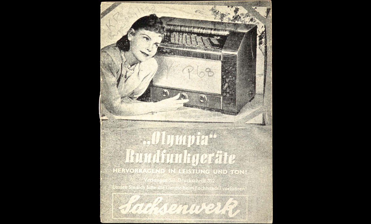 A pamphlet published in 1938 advertising Olympia Radios ('excellent in performance and sound!'), which in fact conceals communist, pro-Soviet material by Alfred Schröder entitled 'Problems of the Shortage of Young Talent in Mining. Heroes of the Miners' Class!', dated 15 November 1938.