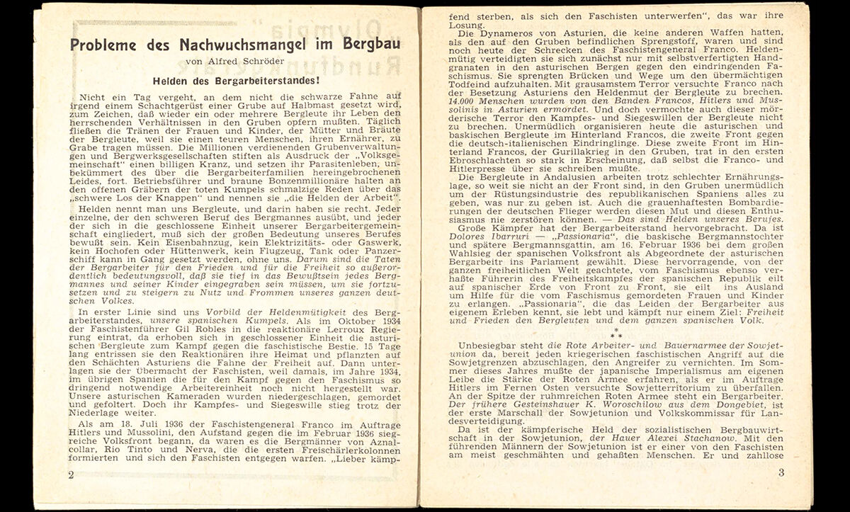 An excerpt of Schröder's article 'Problems of the Shortage of Young Talent in Mining. Heroes of the Miners' Class!', dated 15 November 1938.