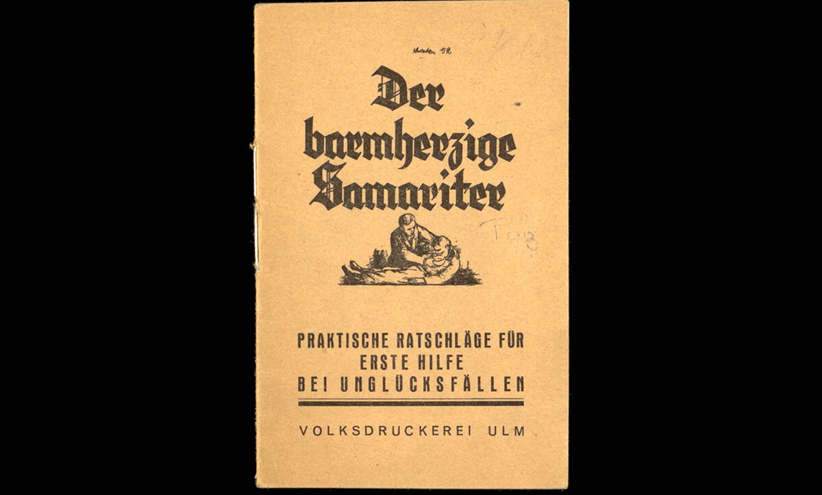 In response to the Nazis' persecution of Catholics, a group of Catholic anti-fascists produced this pamphlet. While appearing to be a medical leaflet giving advice on first aid entitled 'The Good Samaritan: Practical Advice for First Aid in the Event of An Accident', the pamphlet actually contains material describing the persecution of political victims, including a (incomplete) list of pastors who had been arrested, persecuted or imprisoned, and an appeal to the reader to help all those being politically persecuted. C. 1936. This pamphlet is an example of Tarnschriften (hidden writings).