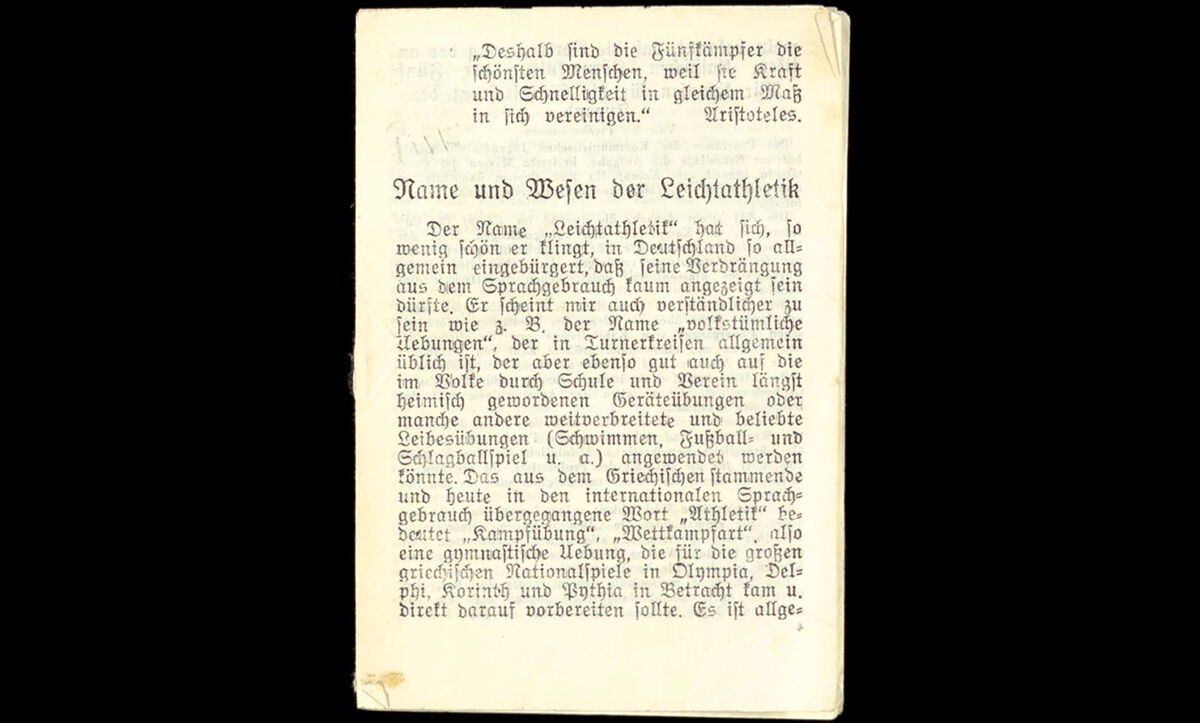 Young people in Germany were also encouraged to resist the Nazis by resistance groups or opposition parties in exile. This pamphlet is an example of Tarnschriften (hidden writings). While it appears to be a pamphlet by Hermann Kuhr, an German Olympic gymnast, entitled 'Name and Essence of Athletics', it actually conceals anti-fascist communist material aimed at young people in Germany by Vasili Chemodanov, a member of the Executive Committee of the Young Communist International, entitled 'We Fight for the United Front of the Youth'. c.1934.