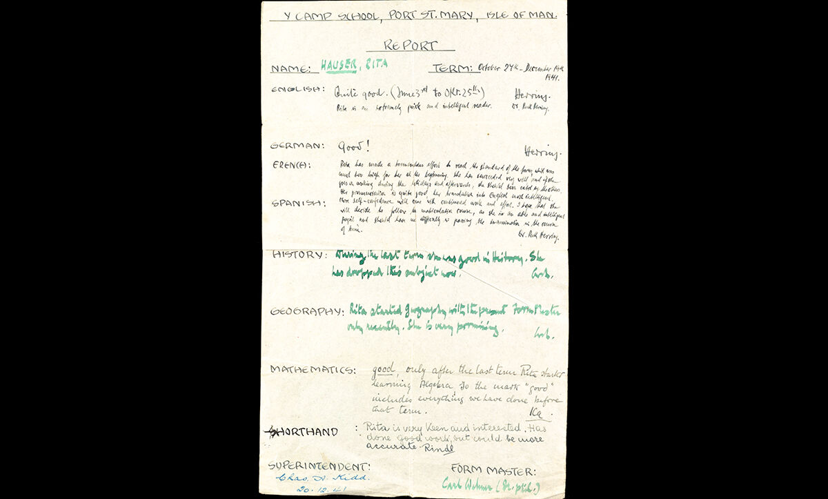 Some children were also interned alongside their parents, usually with their mothers. This school report belonged to Rita Hauser, and details her achievements between 24 October and 19 December 1941 in Y Camp School, Port St Mary on the Isle of Man.