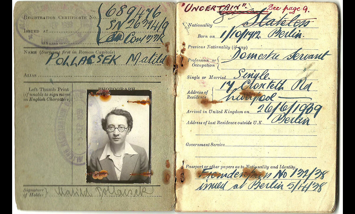 This certificate of registration, issued to Mathilde on 5 September 1939, contains details of her movements during the Second World War, including her internment on the Isle of Man, and release from internment in September 1941.