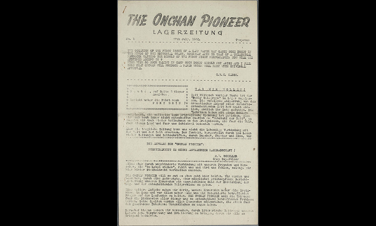 A newsletter published by internees at the Onchan internment camp on the Isle of Man on 27 July 1940.