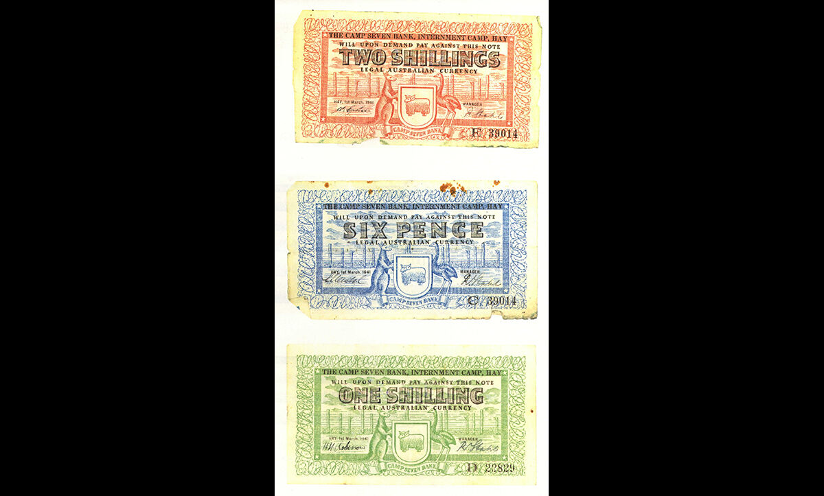 Examples of bank notes from the Hay Internment Camp in Australia, which housed approximately 6,600 German, Austrian, Australian, Italian and Japanese civilian internees and Italian and Japanese Prisoners of War over the course of the Second World War.