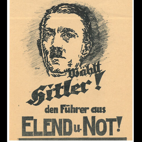 An election poster from the 1932 Presidential Elections. This poster plays on the German peoples fear of poverty and misery, presenting Hitler as a strong leader who could help Germany to overcome poverty.