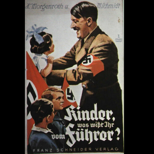 The cover of a 1933 Nazi propaganda children's book entitled 'Children, what do you know of the leader?'.